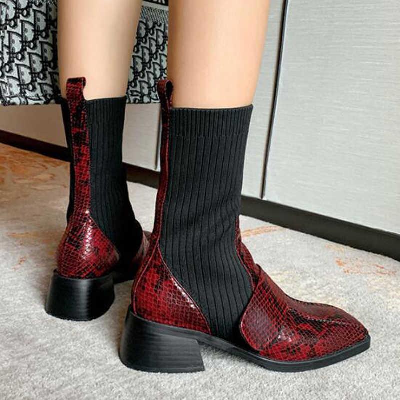 Şarap kırmızı kadın elastik çizmeler kare ayak düşük topuklu orta buzağı çizmeler karışık renk gerçek deri pist parti çizmeler kadın botas Mujer