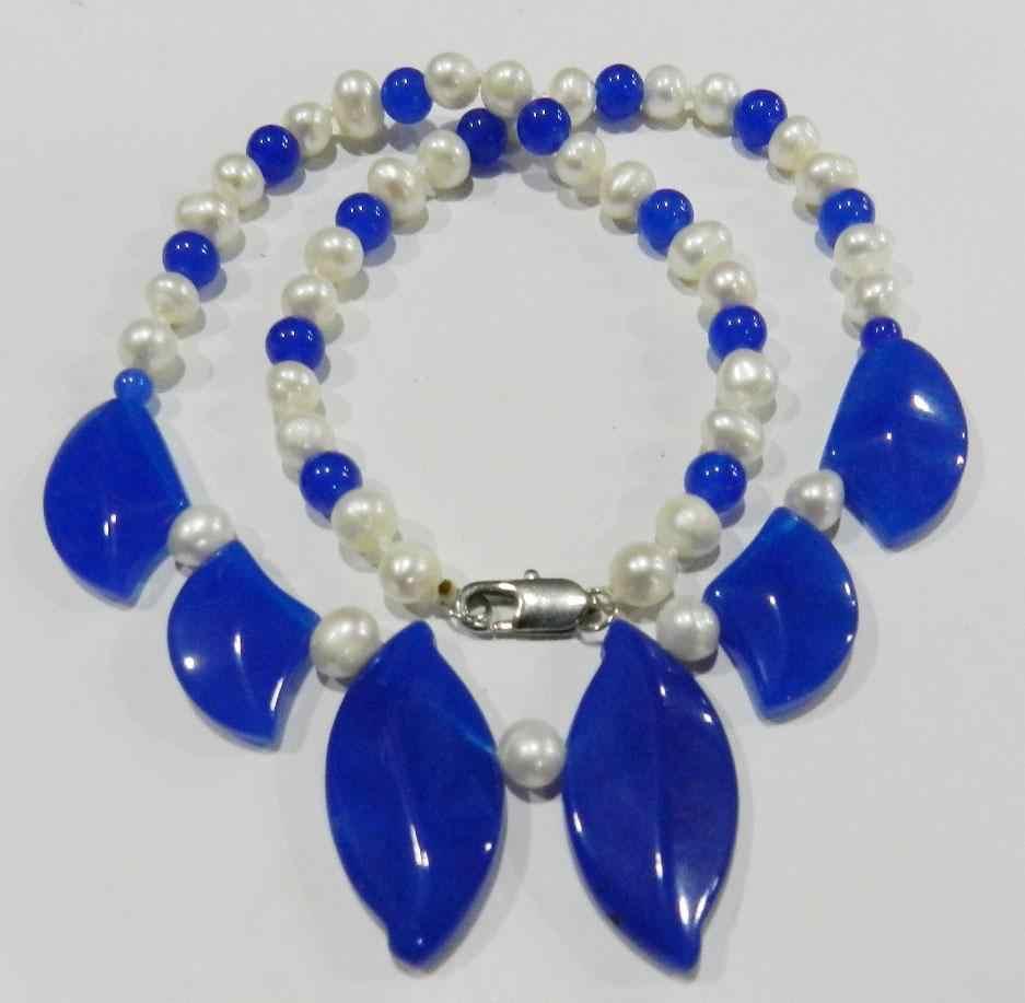 "Ddh003808 สวยมุกสีขาวใบรูป Sapphire สร้อยคอ 18 ""N ส่วนลด"