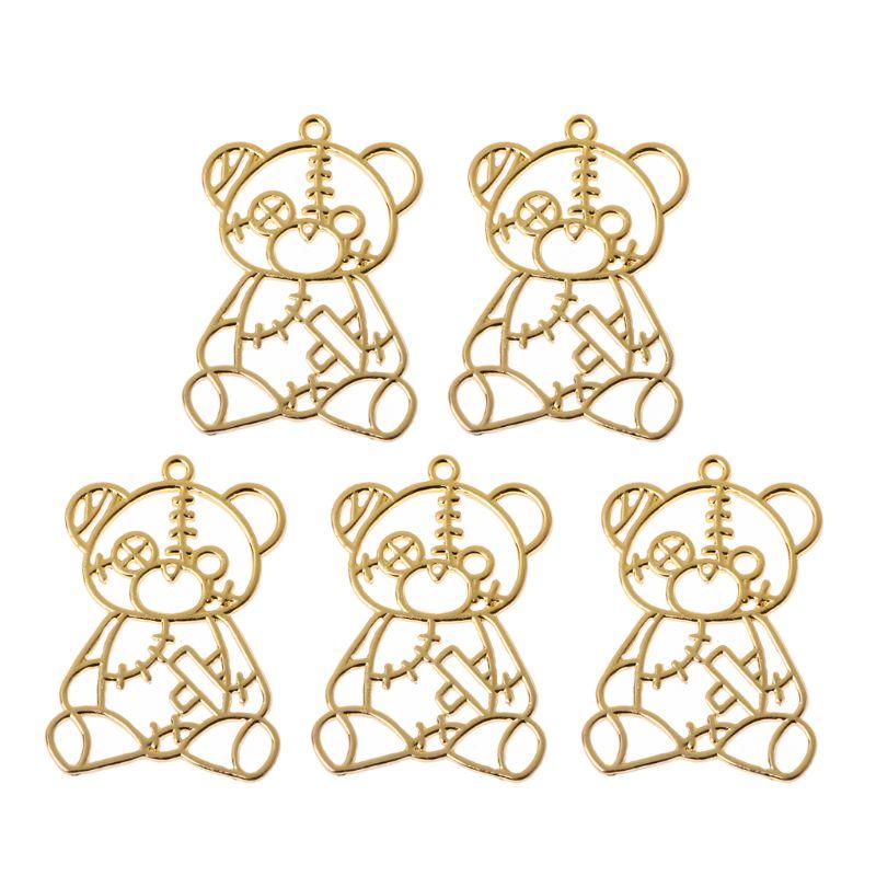 5Pcs Broken Toy Bear Metal Frame Pendant Open Bezel Setting For UV Resin Jewelry Y4QB