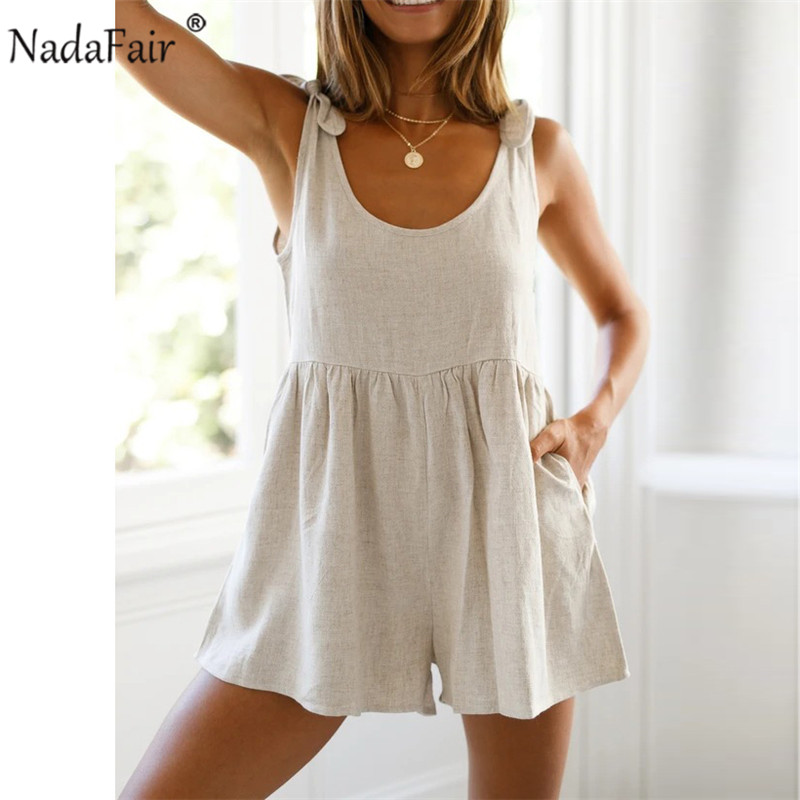 Nadafair Overalls For Women Playsuit 2020 Casual O Neck Bow Solid Off Shoulder Backless Sexy Jumpsuit Female