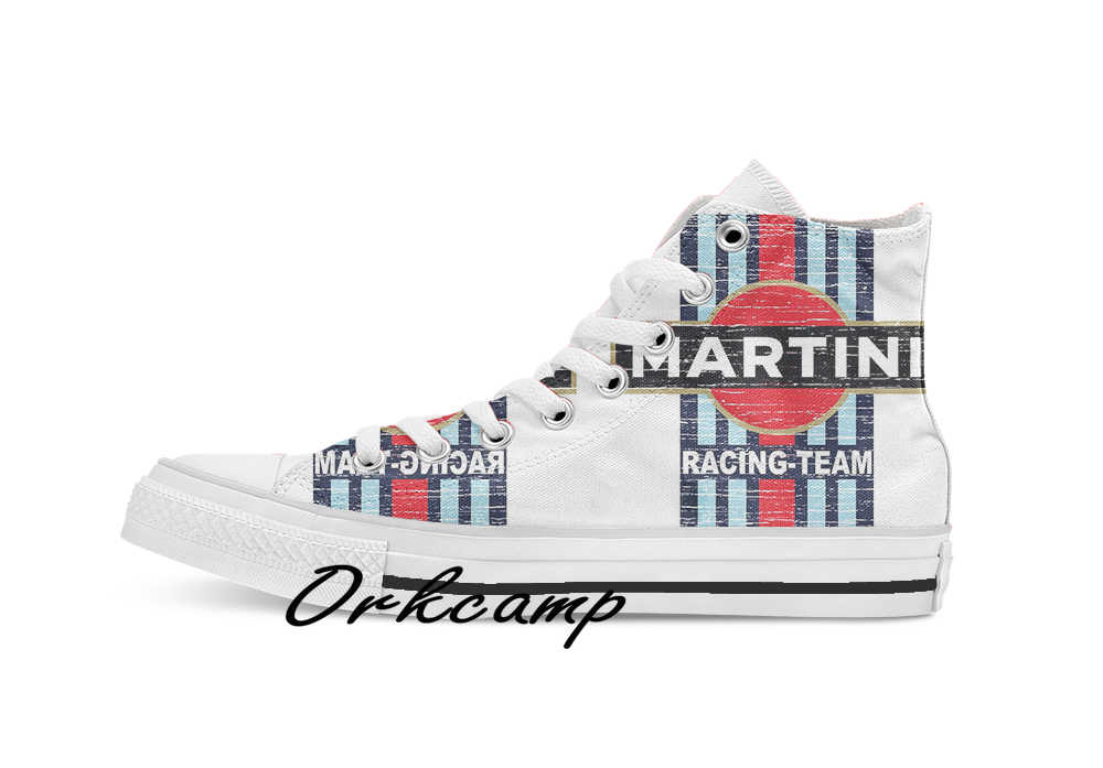 Vintage Martini Racing Custom Casual Hoge Top Lace-Up Canvas Schoenen Sneakers Drop Shipping