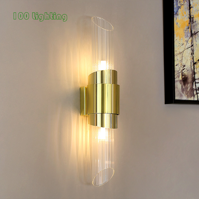 Modern Glass Gold Metal LED Wall Lamp Living room Aisle Stairs Wall light 2 <font><b>G9</b></font> LED Bulb Bathroom Wall Sconce 90-260V Loft Deco image