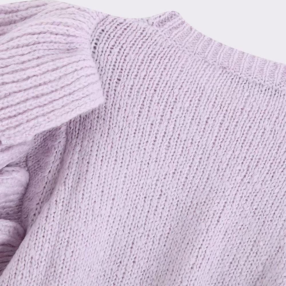 Vintage Ruffles Short Knitted Sweater Women 19 winter women sweater O Neck Long Sleeve Pullovers Chic Vintage Ruffled Short Knit