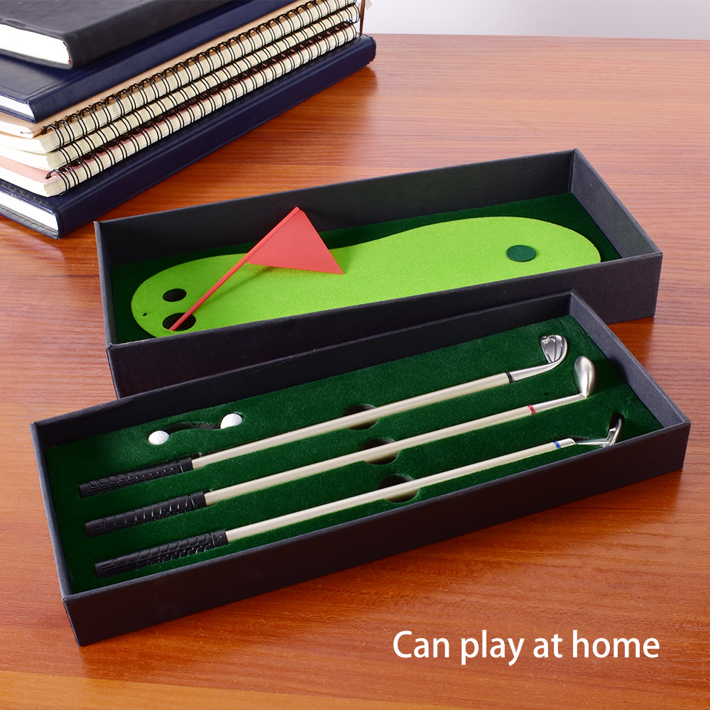 Golf Pen Set Desktop Goft Gift Mini Green Driving Range With Metal Golf Club Pens Balls And Flag