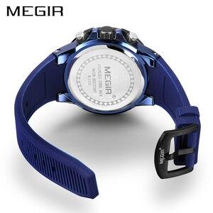 Image 2 - MEGIR мужские часы, лучший бренд, роскошные хронограф, спортивные часы, силиконовые кварцевые военные часы, часы, Relogio Masculino Reloj Hombre