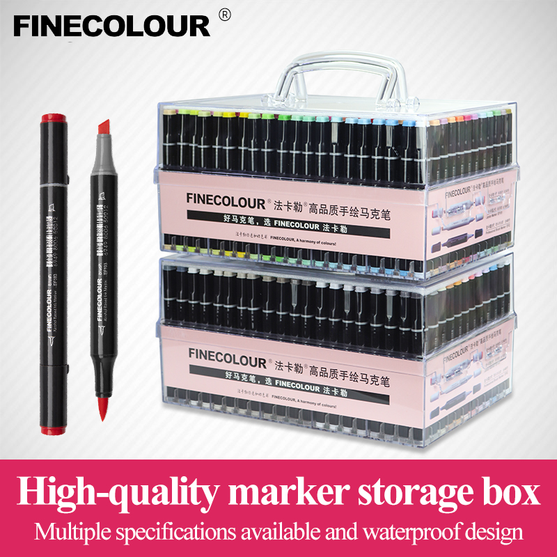 Finecolour Art Markers/Plastic Portable Hard Box EF100/101/102/103 160/240/480 Colors Alcohol Based Ink Marker Double-Head Brush