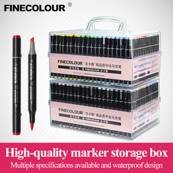 Marcadores de arte Finecolour, caja dura portátil de plástico EF100/101/102/103 160/240/480 colores marcador de tinta a base de Alcohol cepillo de doble cabeza