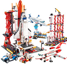 NEW ideas City Airport Aviation Aircraft Space Aerospace Shuttle Rocket Building Blocks Sets Bricks Model Kids Kits Toys Creator