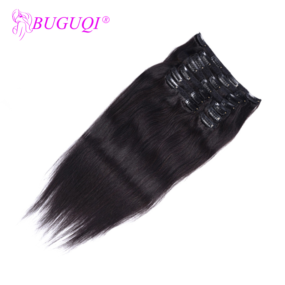 BUGUQI Hair Clip In Human Hair Extensions Indian Natural Color Remy 16- 26 Inch 100g Machine Made Clip Human Hair Extensions