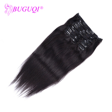 BUGUQI Hair Clip In Human Extensions Indian Natural Color Remy 16- 26 Inch 100g Machine Made