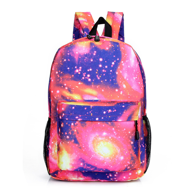 New Teenagers Printing Casual Backpack Stars Universe Space School Book Backpack Girls Fashion Canvas Blue Pink Zipper Backpack
