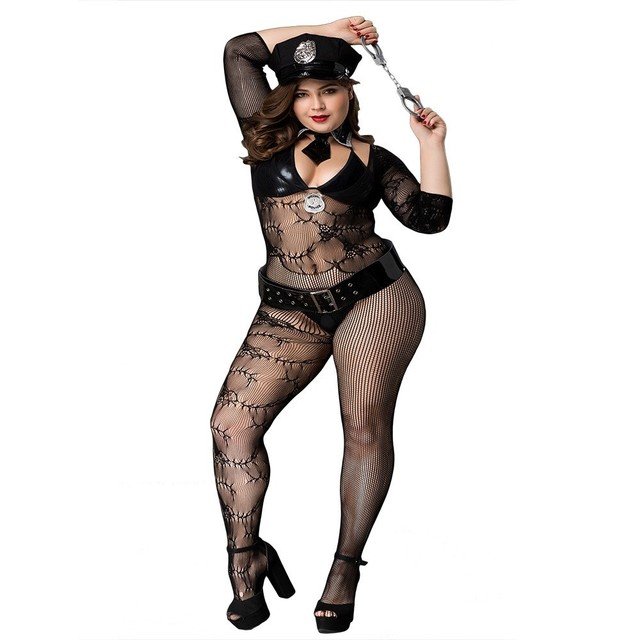 2020 Women's Sexy Large Size Police Dance Costume Set Sexy Cosplay Uniform Temptation, With Handcuffs, Belts, Hats 2