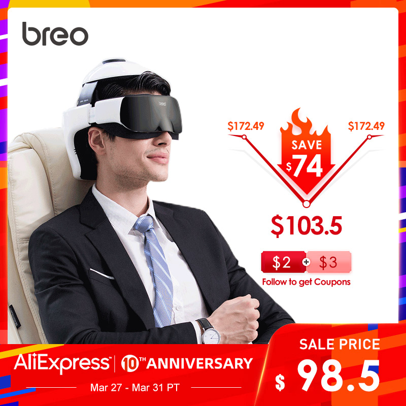 Breo IDream 3S Digital Temple Head&Eye Massager 2-in-1 Electric Helmet Massager Automatic Heating Therapy Massage Health Care