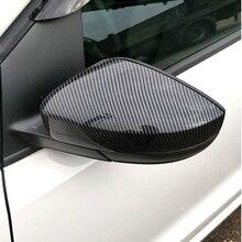 2 peças para vw polo 6r 6c 2014 2017 tampas de cobertura de espelho de asa lateral (efeito de carbono) para volkswagen espelho retrovisor tampas de cobertura