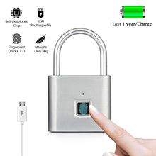 Fingerprint Lock Smart Padlock Quick Unlock Thumbprint Door Padlocks Portable Anti-Theft USB Zinc alloy Rechargeable Door Lock