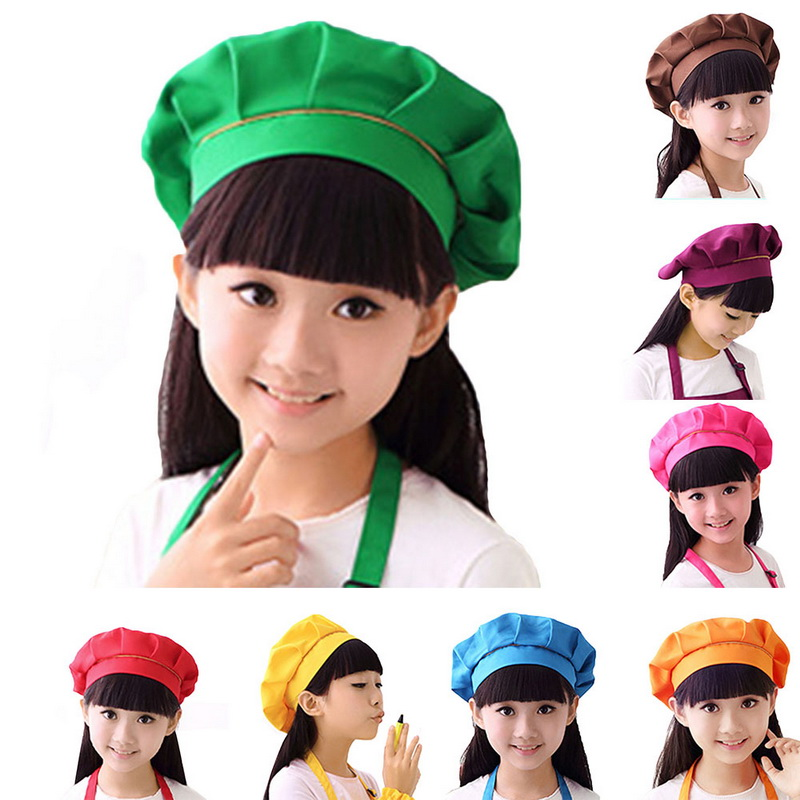 LOOZYKIT Cute Kids Girls Boys  Hat Children Cooking Baking Kitchen School Children Bib Headwear Solid Caps DIY Painting