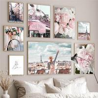 Cuadro sobre lienzo para pared, carteles nórdicos e impresiones de imágenes de pared para decoración para sala de estar, peonía, flores de cerezo, torre de París