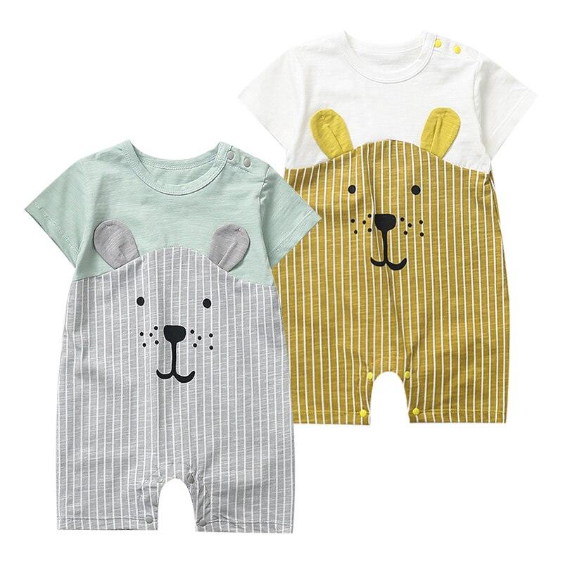 2020 мультяшная Одежда для новорожденных унисекс из чистого хлопка, летние комбинезоны, Детский комбинезон для маленьких девочек, костюм для ...