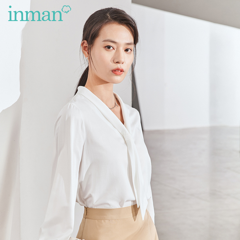 INMAN 2020 Spring New Arrival Artistic Fresh Style Simple Tie V Neck Collar Smooth Material Women Shirt Blouse
