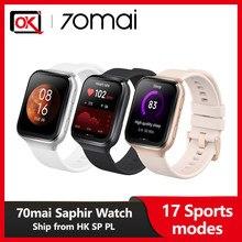 70mai saphir relógio inteligente bluetooth embutido gps 70mai relógio monitor de freqüência cardíaca 5atm à prova dwaterproof água chamada lembrete aplicativo notificação