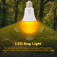 Mosquito killer Lamp Yellow LED Bug Light Bulb No Blue Light Outdoor E26/27 15W Mosquito Repellent Light Bulb No UV Night Light