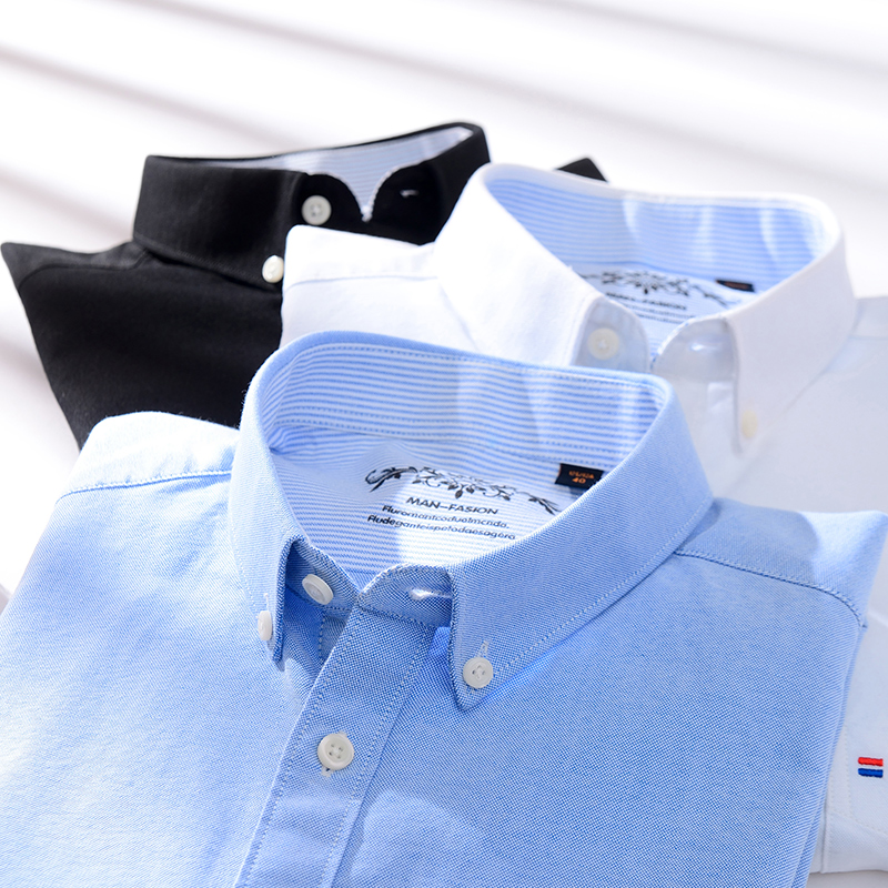 2020 New Spring Autumn Oxford Mens shirts long sleeve Cotton casual shirt 5