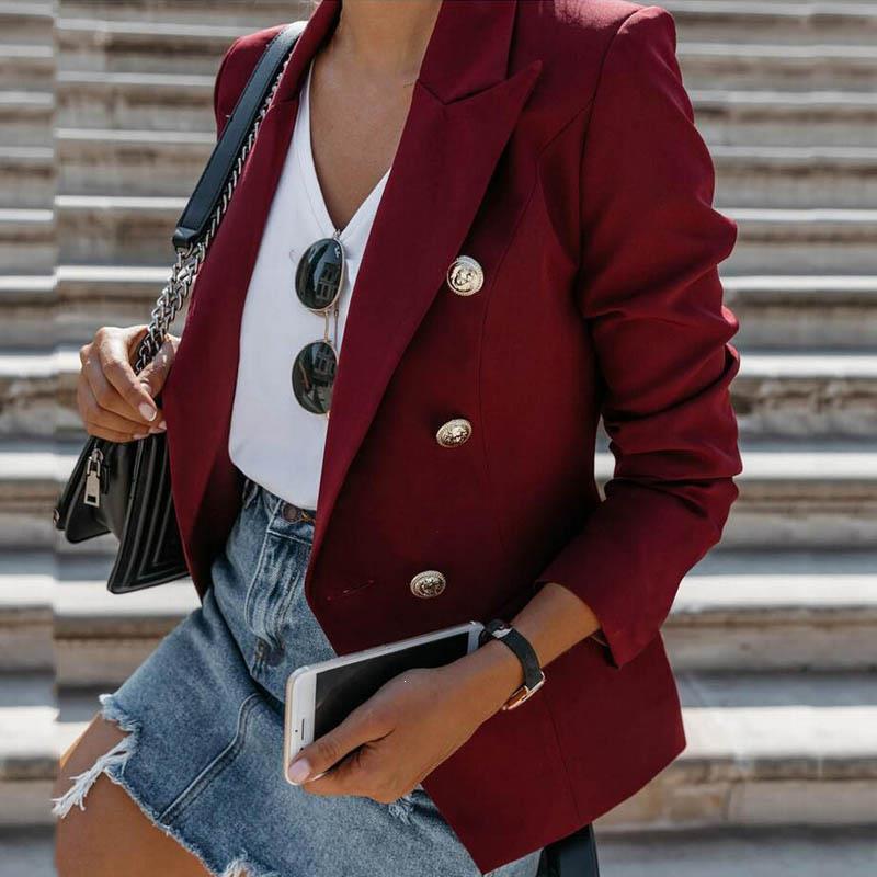 Fashion Designer Slim Blazer Jacket Women's Double Breasted Metal Lion Jacket Buttons Stylish Career Solid Blazer