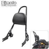 For Harley Davidson XL1200R XL1200C XL1200S XLH883 XLH1200 Motorbike Passenger Backrest Pad Black Metal Sissy Bar Cushion