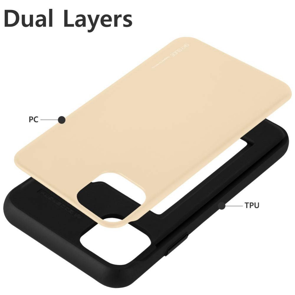 Original Mercury Slide Bumper Back with Slot Card Holder Wallet Hard Case Cover for iPhone 12 Pro Max 3