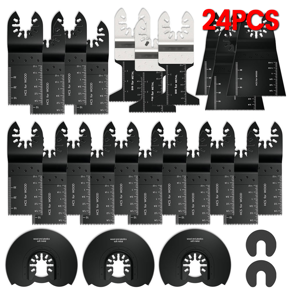 24pcs High Carbon Steel Saw Blades Multi-Function Bi-metal Precision Oscillating Multitool Saw Cutting Multimaster Tools
