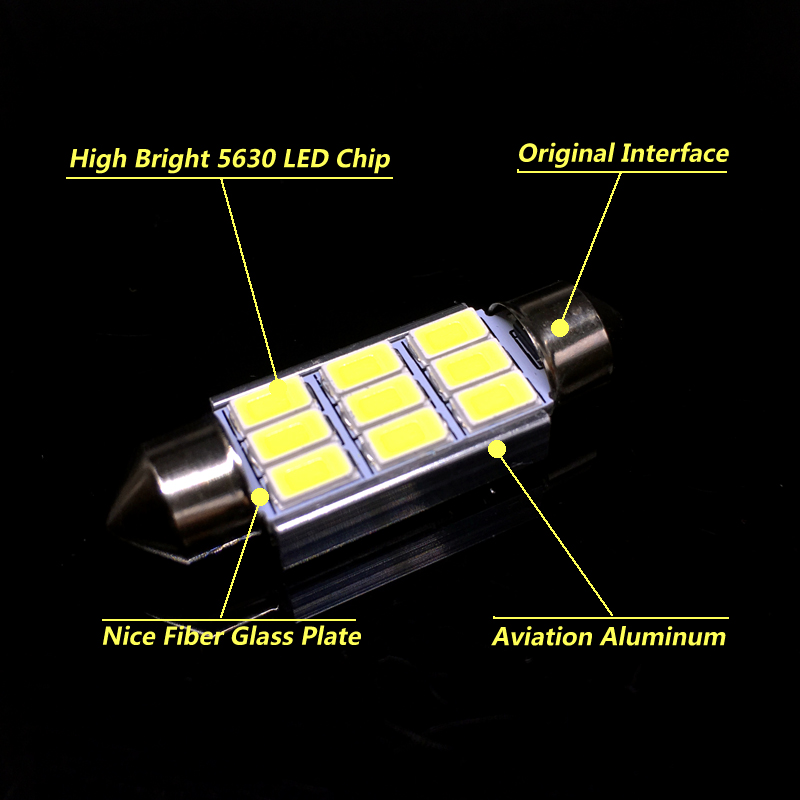 2x 31mm 36mm 39mm 42mm white Festoon C5W C10W LED Bulb 5630 LED Canbus No Error Auto Interior Doom Lamp Car Reading Light 12V in Signal Lamp from Automobiles Motorcycles