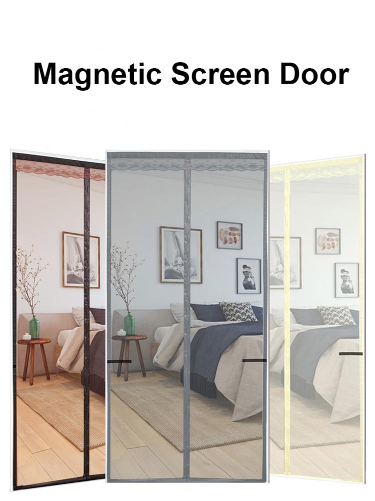 110-120 Cm Width Reinforced Magnetic Screen Door, Anti Mosquito Curtain Mesh For Door