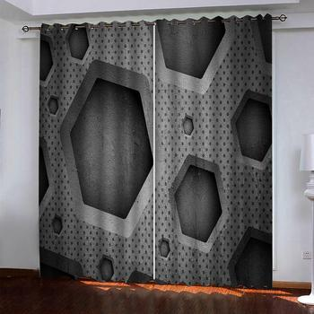 grey curtains 3d stereoscopic geometric curtains 3D Blackout Curtains For Living room Bedding room Drapes Cotinas para sala