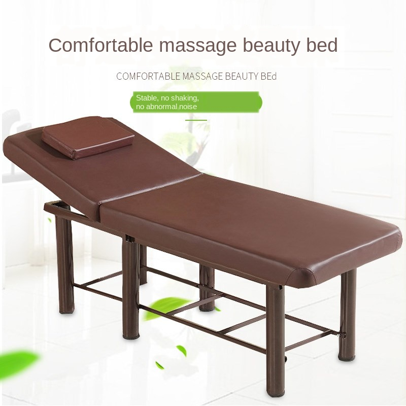 Massage Bed With Iron Frame Reinforcement Folding With Hole Embroidery Spa Body Bed Beauty Salon Physiotherapy Bed
