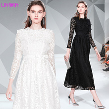 2019 new womens autumn and winter temperament ladies Europe America fashion white lace dress Ankle-Length  Zippers