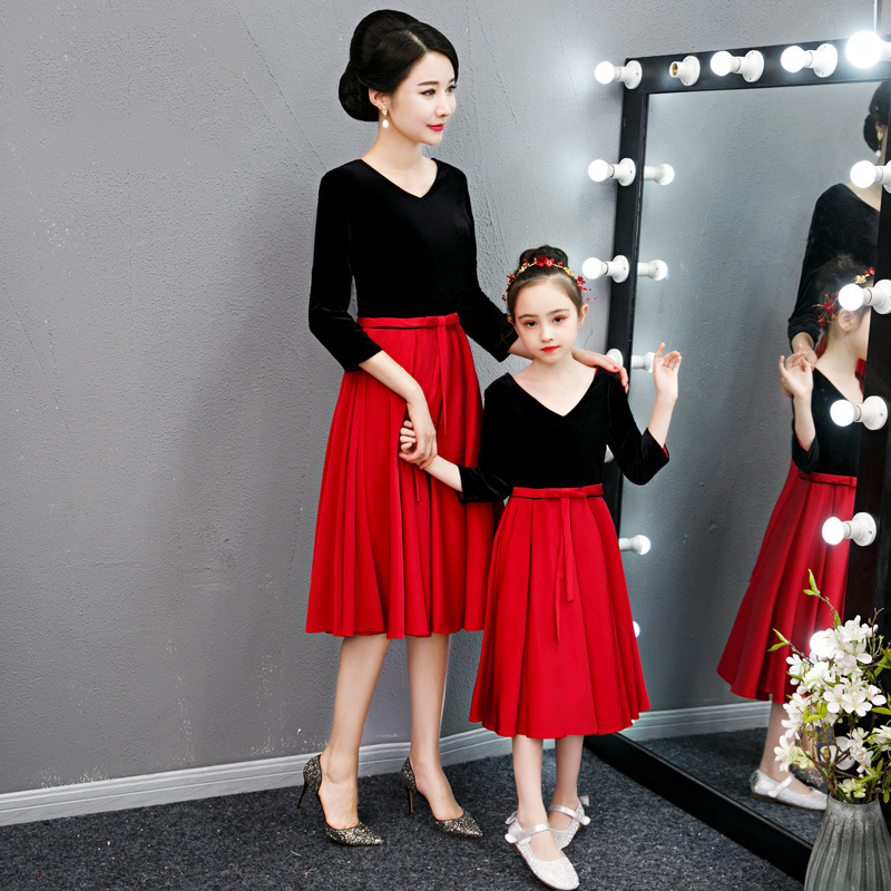Parent-child Prom Dress CB119 Patchwork A-Line Banquet Dresses V-Neck Elegant Vestidos De Gala Knee-Length Mother Daughter Dress