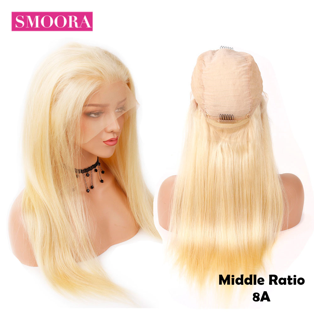 Glueless 13x4 Lace Front Human Hair Wigs Brazilian Straight 613 Honey Blonde Lace Front Wig Pre Plucked With Baby Hair 150% Remy
