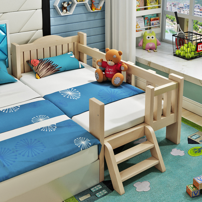 Solid Wooden Children's Bed With Guardrail, Crib, Baby, Boy, Girl, Princess Bed, Splitting Bed, Splitting Artifact Splicing Bed