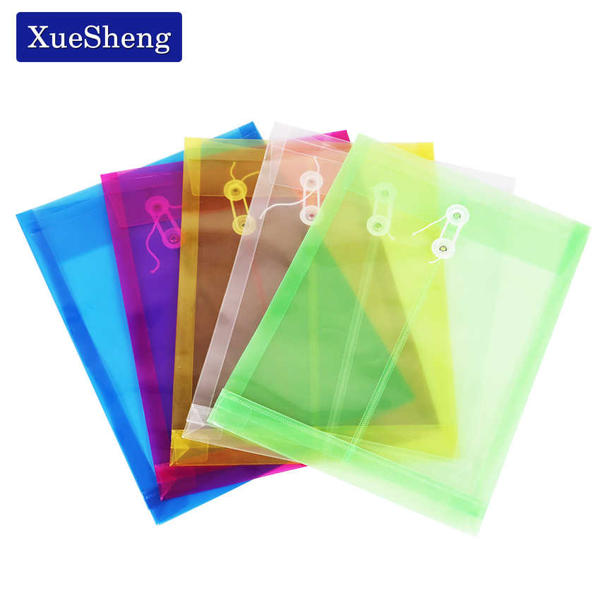 Office A4 File Bag Transparent Colorful Plastic Thicken Button Closure Folder Filing Products Office School Supplies 1PC