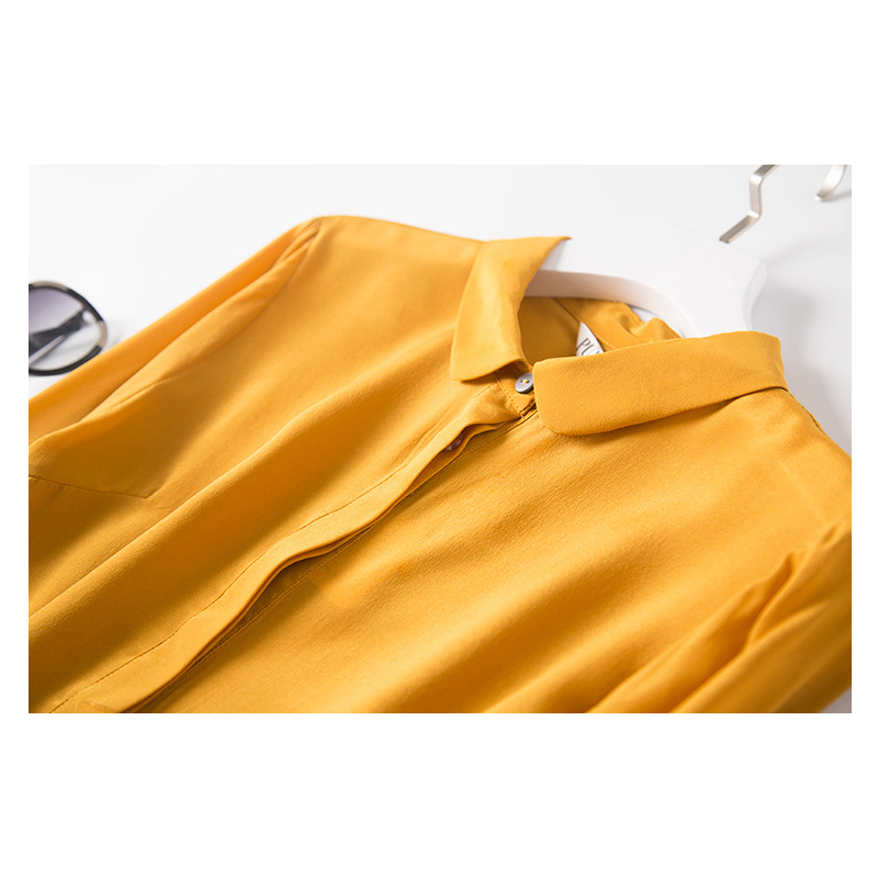 Yellow Round Neck Long-Sleeved Shirt Women Women's Blouses Women's Clothings