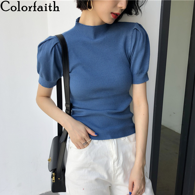 Colorfaith New 2020 Spring Summer Women's Tops Stand Collar Knitting Bottoming Lantern Sleeve Solid Minimalist Lady Tops T6767