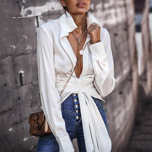 TITAME Classic White Shirt Women Long Sleeve Blouse Lace Up Knot Office Ladies Blouse Spring Autumn Sex Female Tunic Top