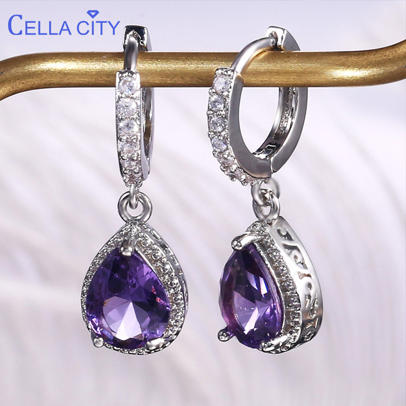 Cellacity Silver 925 Jewelry with Gemstones Water Drop Shaped Earrings for Women Amethyst Female Ear drops Anniversary Gifts