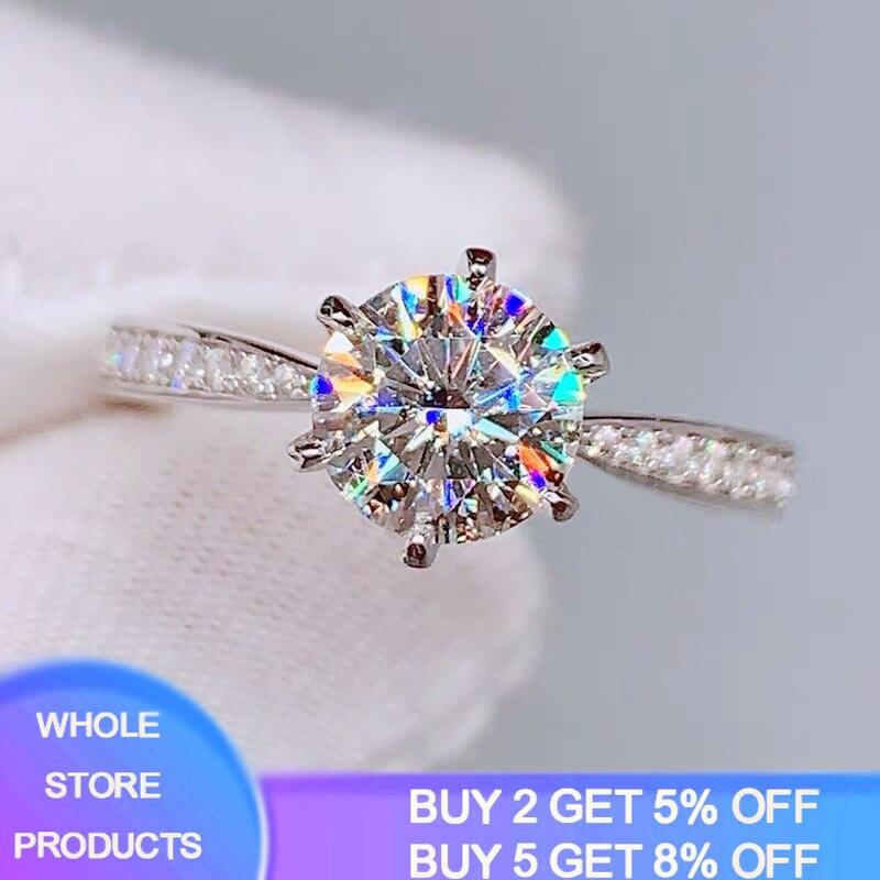YANHUI Diamond Rings Eternity 925-Silver Women Zirconia 100%Original High-Quality Classic