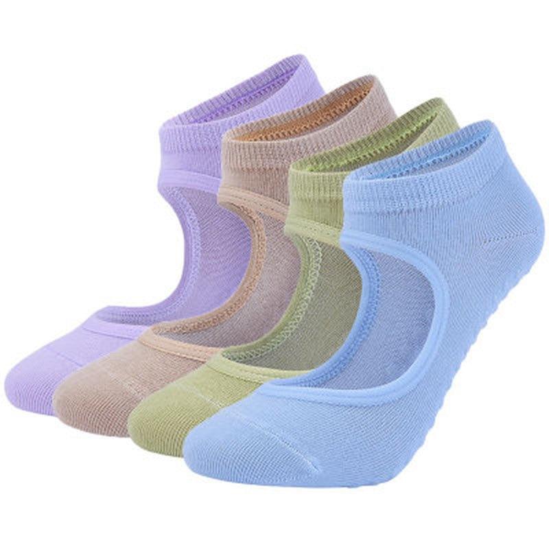 Women High Quality Pilates Socks Anti-Slip Breathable Backless Yoga Socks Ankle Ladies Ballet Dance Sports Socks For Fitness Gym