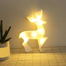 3D Deer LED Light Night Light Christmas Deer Kids Gift Toy Baby Children Bedroom Decor Lamp Table Lamp Bedroom Elk jiaderui led novelty metal moon girls night light decor kid baby gift table lamp children bedroom creative garland wall lamp