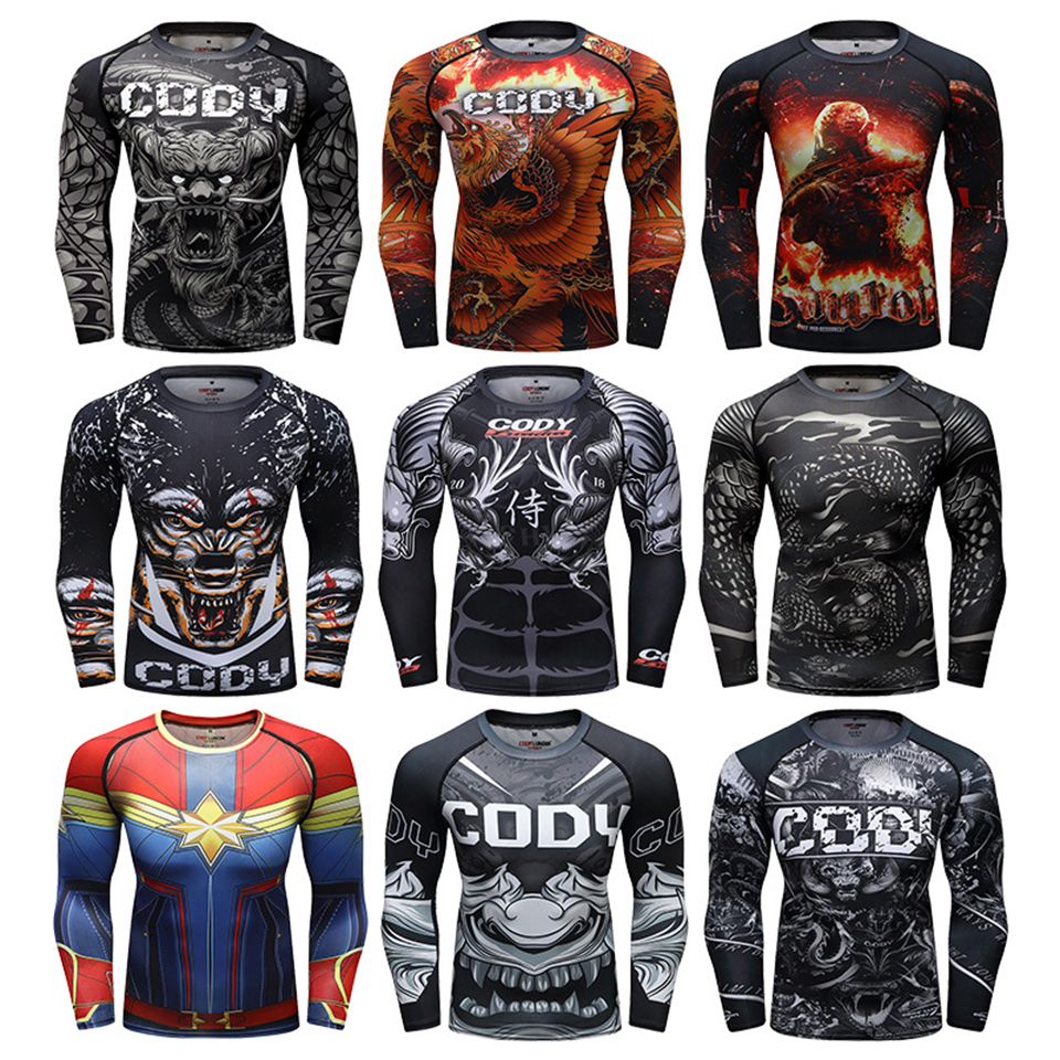 Mma T-shirt Men Sublimated Mma Fight Rashguard Compression T-shirts Muay Thai Rash Guards Jiu Jusit Long Sleeve Tee MMA Clothing