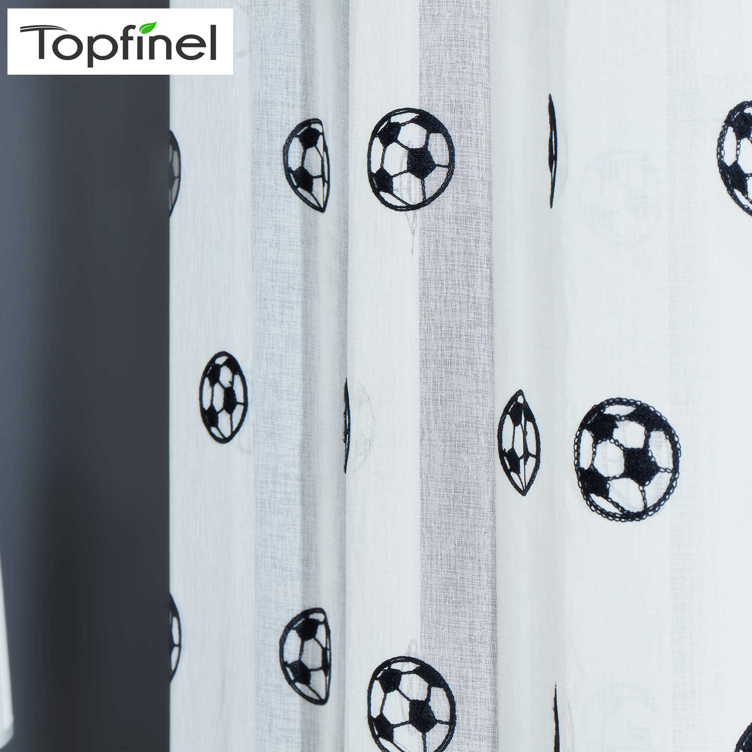 Topfinel Football Curtains Embroidered Children Curtains Boys Sheer Curtains for Living Room Bedroom Tulle White Voile Curtains