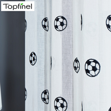 Topfinel Football Curtains Embroidered Children Curtains Boys Sheer Curtains for Living Room Bedroom Tulle White Voile Curtains cheap Left and Right Biparting Open Translucidus (Shading Rate 1 -40 ) Cartoon Pastoral Rope Included Window Hospital Cafe Hotel