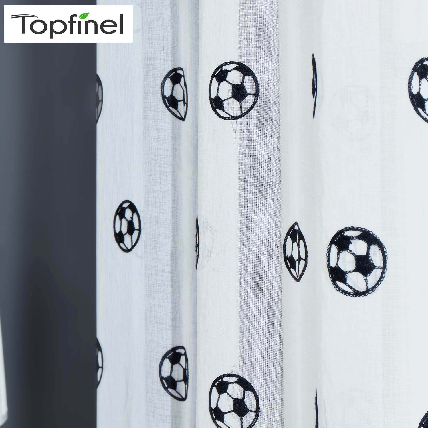 Topfinel Football Curtains Embroidered Children Curtains Boys Sheer Curtains for Living Room Bedroom Tulle White Voile Curtains in Curtains from Home Garden